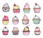 Sketches of a variety of cupcakes. Royalty Free Stock Photography