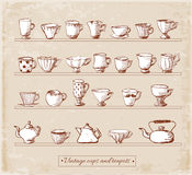 Sketches of vintage cups and teapots Stock Photography