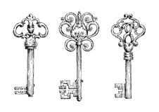 Sketches of vintage keys with forged elements Royalty Free Stock Photos