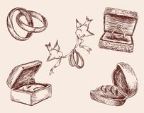 Sketches of the wedding rings. Vector drawings of the different wedding rings Royalty Free Stock Photo