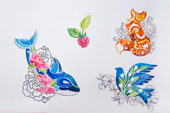 Sketches whales, foxes, birds and berries on a white background. Sketches whales, foxes, birds and berries on white background Stock Images
