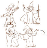 Sketches of wizards Stock Photos