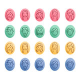 Sketches of women and man face icons Stock Images