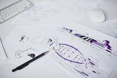 Sketches on workplace Stock Photography