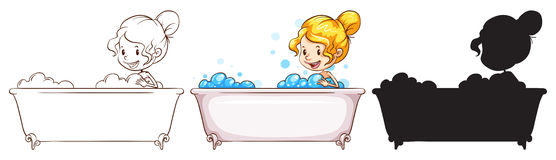 Sketches of a young lady at the bathtub. Illustration of the sketches of a young lady at the bathtub on a white background Stock Image