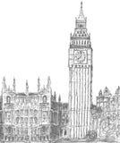 Sketching of big ben london stock illustration