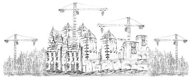 Sketching of building construction Royalty Free Stock Image