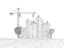 Sketching of building construction Stock Photos