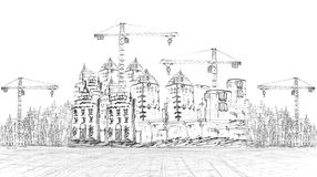 Sketching of building construction on white royalty free illustration