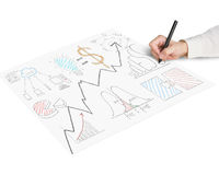 Sketching business concept doodles on paper. Isolated in white Stock Image