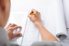 Sketching construction project Stock Photography