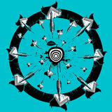 Sketching darts and getting into the center of the target. Illustration. Royalty Free Stock Image