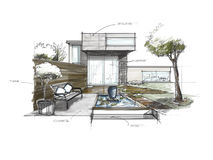 Sketching of Garden decorated. Sketching of Garden decorate at home vector illustration