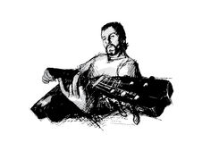 Sketching of the guitarist. In the s stock illustration