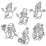 Sketching hand drawn style cute snow mans. Christmas vector illustration.Snowmen with gifts hats and scarves. Coloring page Royalty Free Stock Images
