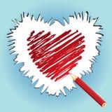 Sketching heart. Red sketching heart, illustration stock illustration
