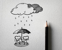 Sketching for heart protect the rain concept Stock Photography