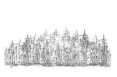 Sketching of historic building vector illustration