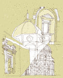 Sketching Historical Architecture in Italy Royalty Free Stock Images