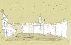 Sketching Historical Architecture in Italy Stock Photography