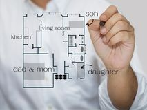 Sketching house plan. Hand sketching family's house plan Royalty Free Stock Photography