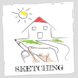 Sketching House Shows Real Estate And Building. Sketching House Representing Drawing Properties And Houses vector illustration