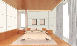 Sketching Interior modern bedroom Idea house. And comfortable concept royalty free illustration