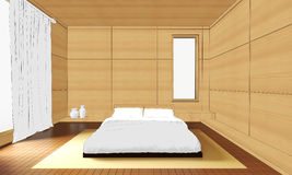 Sketching Interior modern bedroom Wood and japanese style Royalty Free Stock Photo