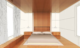 Sketching Interior modern bedroom Wood. And white wall idea royalty free illustration