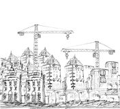 Sketching of modern building and construction stock illustration