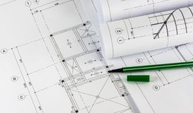 Sketching of modern building. Construction Royalty Free Stock Photos