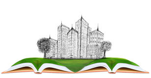 Sketching of modern building on green grass field. Use for architecture and construction business theme Royalty Free Stock Photo