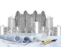 Sketching of modern building and plan blueprint. Use for architect and construction topic royalty free stock photo