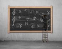 Sketching momey symbols Stave on blackboard Royalty Free Stock Image