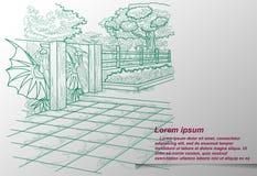 Sketching of natural park outline. royalty free illustration