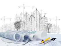Sketching Of Modern Building Construction And Plan Document Royalty Free Stock Photos