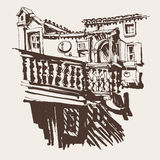 Sketching of old building in Budva Montenegro vector illustration