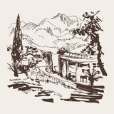 Sketching of park alley view with trees cypress and mountain in. Budva Riviera Montenegro (slovenska plaza hotel), travel vector illustration royalty free illustration