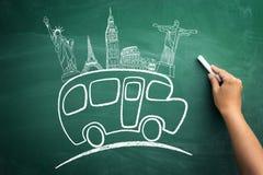 Sketching school bus on blackboard. Sketching school bus with landmark on blackboard vector illustration