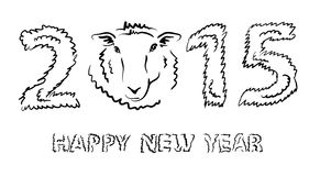 Sketching sheep - symbol of the New Year 2015 Stock Photography