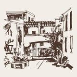 Sketching of street in hotel complex Slovenska Plaza in Budva Ri. Viera Montenegro, travel vector illustration stock illustration