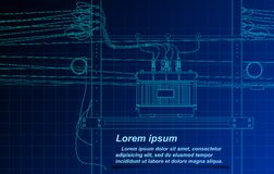 Sketching of transformer and cable on blueprint background. royalty free illustration