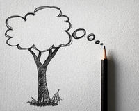 Sketching of tree bubble concept Royalty Free Stock Photography