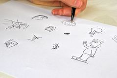 Sketching: trial and error. Learning to draw: a proces of trial and error royalty free stock images