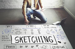 Sketching Visual Notes Design Handwriting Ideas Concept Stock Photos