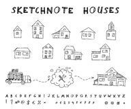 Sketchnote houses Royalty Free Stock Photo