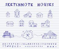 Sketchnote houses Royalty Free Stock Photos