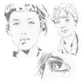 Sketchs de las caras de la mujer imagenes de archivo