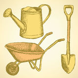 Sketchwatering can, shovel and barrow, vector  background Royalty Free Stock Image
