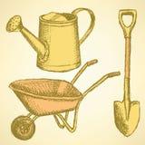 Sketchwatering kan, skyffeln och kärran, vektorbakgrund Royaltyfri Bild
